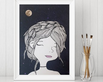 5x7 PRINT- Girl in the Moonlight