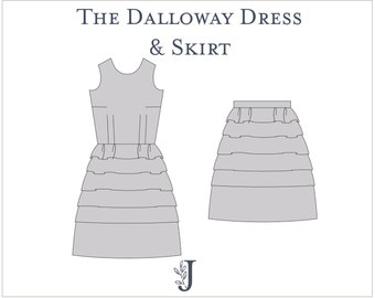 Dalloway Dress and Skirt Ladies PDF Sewing Pattern Multi Size 6 to 20