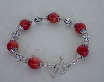 "7"" Cherry Agate Gemstone Swarovski Crystal Beaded Bracelet"