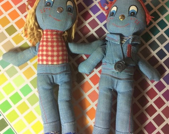 Pair of Vintage Levi's Dolls by Knickerbocker 1970's