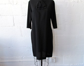 1960s Black Rayon Dress // 60s Black Shift Dress // Vintage 60s LBD