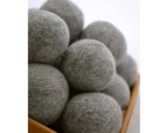 Grey Merino Wool Dryer Balls / Set of three wool dryer balls / Merino Wool / White Wool / Dryer Balls / Laundry Wool Balls