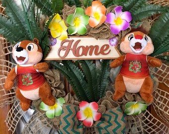 Chip and Dale Spring Summer Hawaiian burlap wreath