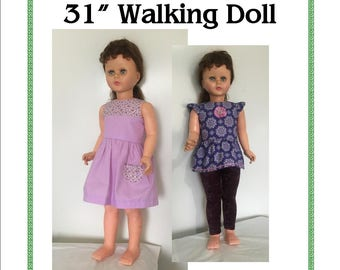 Dress and Top Pattern for 31in Walking Doll