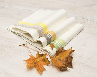 Linen Tea Towel set (3 pcs), Linen Tea Towel Stripes, Kitchen Linen Towels, Stripe Towels, Linen Hand Towels