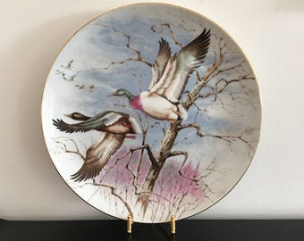 Vintage, Japanese, Ceramic Flying Duck Plate, Saji Japan, Duck,Plate, Made In Japan, Home Decor,Display Plate,Hunting Lodge Decor,Wild Ducks