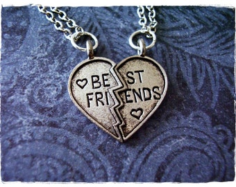 Silver Best Friends Heart Necklace - Antique Pewter Best Friends Heart Charms on TWO Delicate Silver Plated Cable Chain or Charms Only