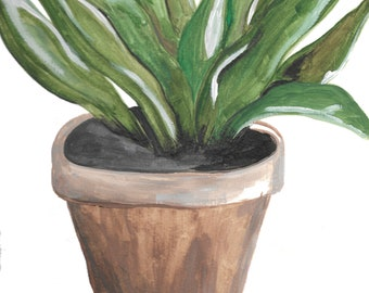 Wall Art Watercolor Potted Plant Print