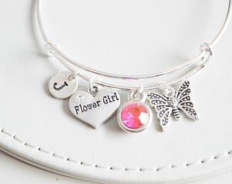 Flower Girl Bracelets, Flower Girl Gift, Gift for Flower girl, Wedding Jewellery, Flower Girl Charm, Flower Girl Bangle, Personalized gift