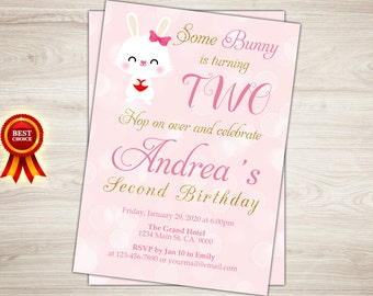 Printable Bunny Birthday Invitation. Easter Birthday Invitation. Some Bunny Invite. First Birthday Invite. Girl 1st Birthday Photo Invite