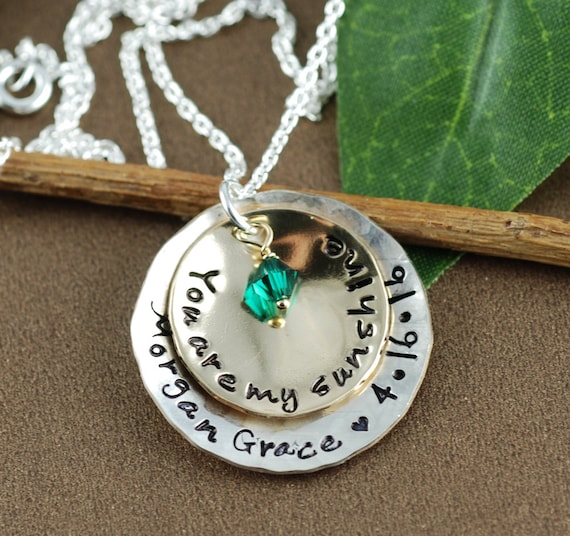 You Are My Sunshine, Sunshine Necklace, Mommy Necklace, Sunshine Jewelry, Engraved Necklace, Gift for Mom, Christmas Gift, Gift for Grandma