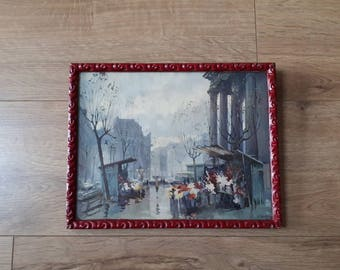 Vintage 50's Mid Century French Street Scene Print- framed, glazed, 'Paris in the Rain (Madeleine)'