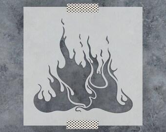 Flames Stencil - Reusable DIY Craft Stencils of Flames