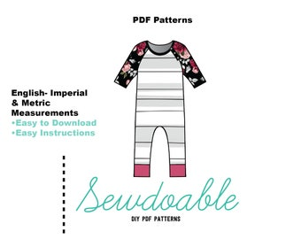 Raglan Romper PDF Pattern 3/6M- 2Y