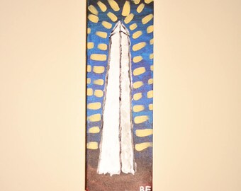 """Washington Monument: 12""""x4"""" Abstract Acrylic on canvas hand-made painting, wall hangings, interior design, home decor"""