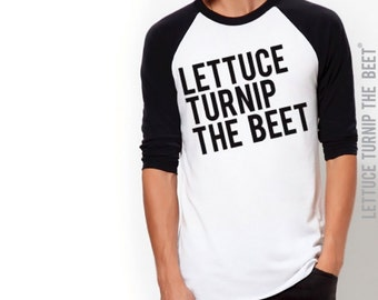 Lettuce turnip the beet ® trademark brand OFFICIAL SITE - black baseball jersey - lightweight fashion shirt - foodie, funny, crossfit, vegan