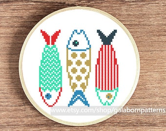 Counted cross stitch pattern PDF - Fishes make wishes - Nautical - Sea life
