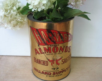 Harvard Brand Almonds Tin Vintage Gold Red Cannister Chicago Anthropomorphic Almond Man 1930's