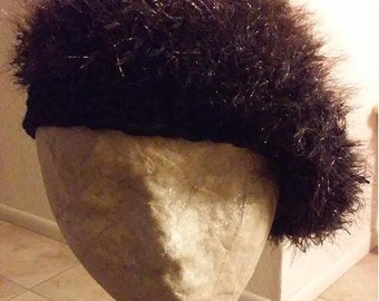 Hairy Black Crochet Beanie