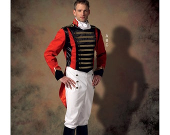 McCall's Pattern 7457 Men's Embellished Jacket, Pull-On Pants, Cravat Military Uniform 17th 18th Century Prince Charming Cosplay Size Sm-XXL