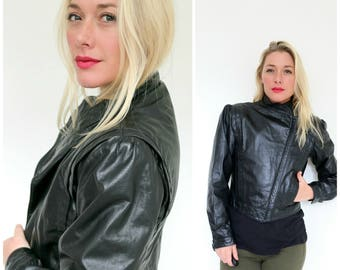 1980s Futuristic Leather Jacket  /// Size Extra Small to Small