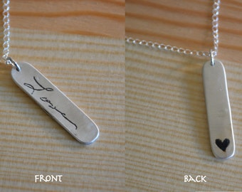 Loved One's Actual Handwriting Necklace -Front & Back, Fine Silver (99.9%FS)
