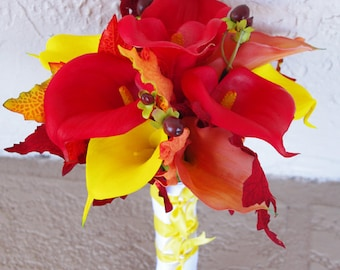 Fall Silk Wedding Bouquet with Orange, Red and Yellow Calla Lilies - Natural Touch Callas Silk Bridal Flowers