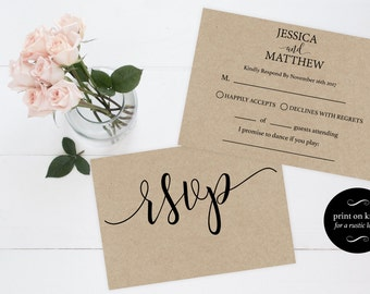 Wedding RSVP postcards templates rsvp cards wedding diy