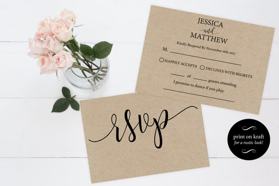 Online Wedding Invitations And Rsvp: RSVP Wedding Template Wedding Rsvp Cards Rsvp Online