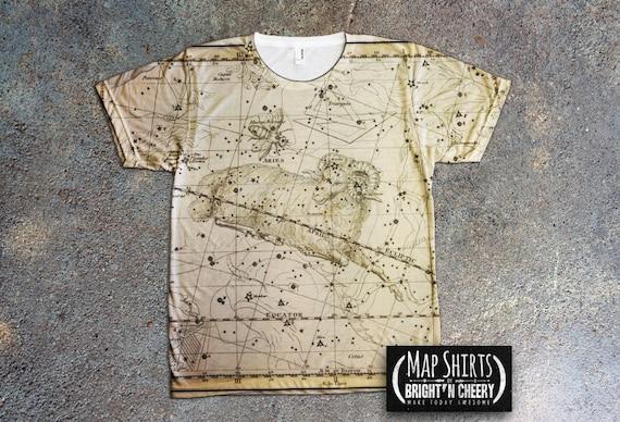 Libra & Scorpio Constellation Map T Shirt - Astrology Tee, Vintage Celestial Atlas, Birthday Gift Idea Zodiac Signs