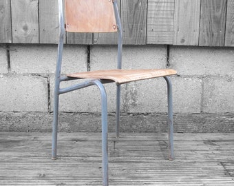 Mid Century Industrial School Stacking Chair Vintage Kitchen Dining Seat
