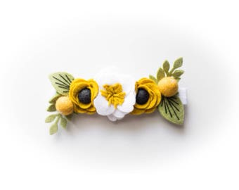 White Peony and Mustard Felt Flower Crown | Adjustable Headband