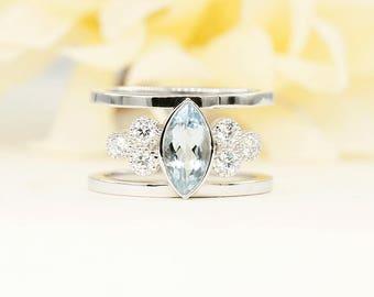 Aquamarine Engagement Ring, 0.36 ct High Quality Diamond Ring.14k White Gold Engagement Ring. 10x5 AAA  Marquise Aquamarine.Wedding Ring.