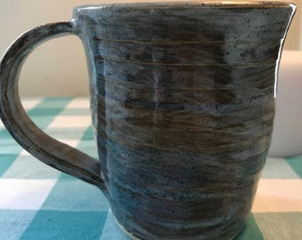 Brown Mug with Blue Accents