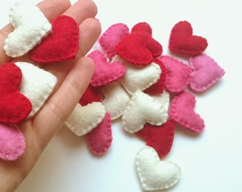 mini felt hearts - party supplies - choose quantity and color - good for home decor, wedding gift, or any craft purposes - free shipping