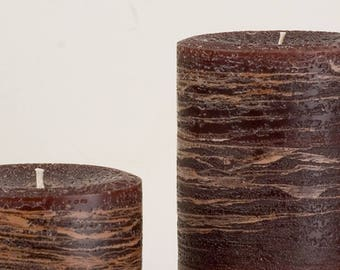Brown Candle - Rustic Pillar Candle in Various Sizes  - Rustic Home Decoration - Rustic Wedding Candles - Woodland - Vacation Home Decor
