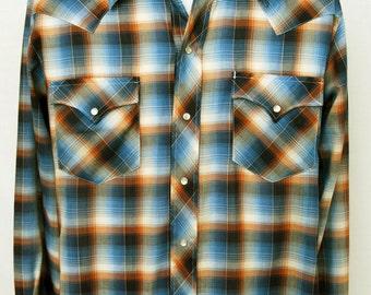 Vtg Mens Shadow Plaid Western Shirt Pearl Snap Cowboy Western Fashions S Small Blue Brown Soft Thin Long Sleeve
