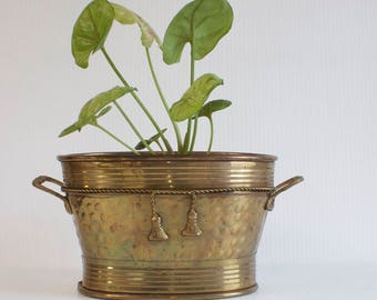 Vintage Brass Planter with Rope and Tassel details
