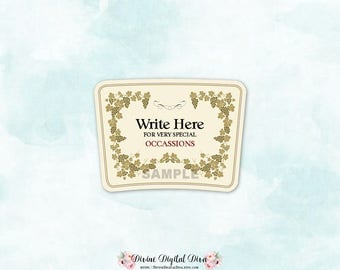 Cognac Label Blanks | Gold Ivory Creme | Tags Labels Grapevine Very Special | Write Your Own Digital Instant Download