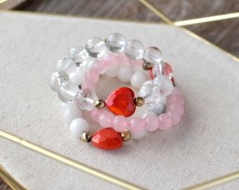 Crystal Heart Bracelet Chakra