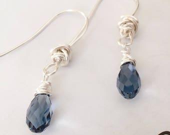 Swarovski briolette earrings, Swarovski briolette Denim Blue earrings