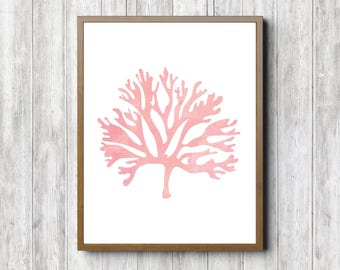 Watercolor Seaweed / Sea Coral Girls Room/ Nursery Poster - Sealife Wall Art - Blush Pink Print - Sea Creature Art - Beach Theme Decor