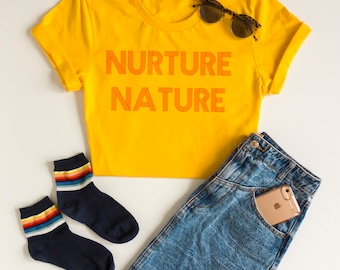 Nurture Nature Graphic Tee, Nature Shirt, Nature Lover Gift, Womens Shirts, Retro, hipster shirt, Retro Clothing, outdoor shirt, 70s, tumblr
