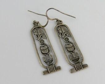 Vintage Sterling Egyptian Revival Long Dangle Earrings.