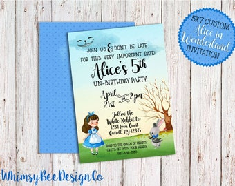 Printable Alice in Wonderland Invitation, Wonderland Birthday, Tea Party, Watercolor, Vintage, Customizable, White Rabbit, Cheshire Cat, 5x7