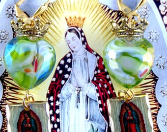 Catholic Virgin Mary Our Lady of Guadalupe Religious Metal Medals Handmade Earrings, Hearts, Crown, Aretes Catolicos
