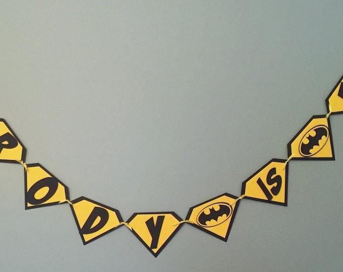 Super Hero Batman Pennant Banner - Happy Birthday yellow black comic die cut custom superhero marvel inspired robin