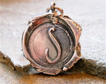Wax Seal jewelry Silver Personalized Initial Pendant . Recycled Sterling Silver