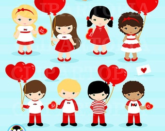 """Valentine Clipart: """"VALENTINE CLIPART"""",  Love Clipart , Boy and Girl Valentine Clip Art , Cute Love Clip Art , Commercial & Personal"""