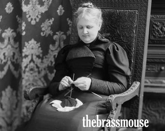 Mrs Lovell Knits 1890s Victorian Crafting Woman Instant Digital Download Vintage Black and White Photograph Scrapbook Junk Journal